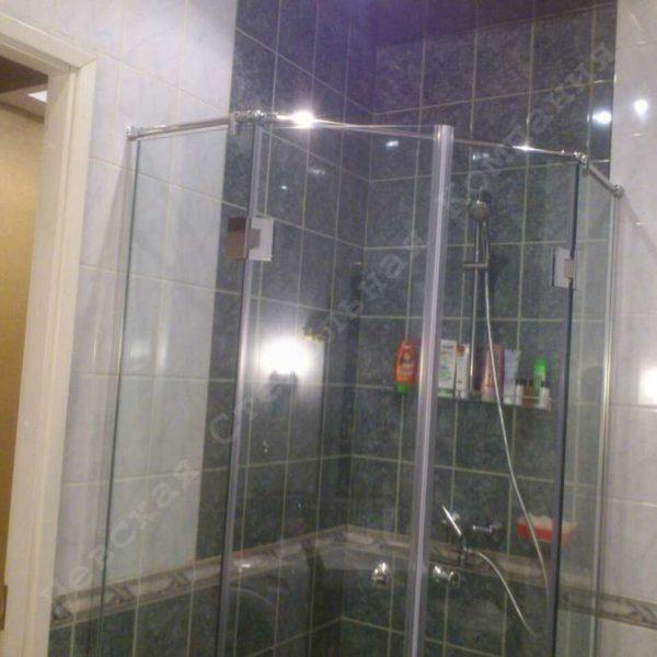 Стеклянная душевая перегородка с двумя распашными дверьми - 03