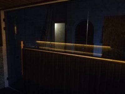 Стеклянная перегородка для сауны из стекла 8 мм (графит)